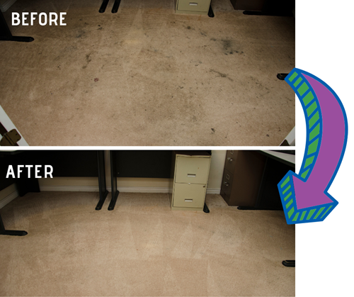 before and after carpet cleaning images in The Villages FL courtesy of First Class Chem-Dry
